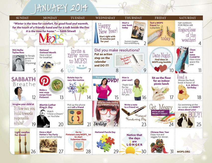 Calendar Ideas For January : January mops calendar andihays